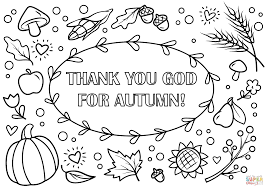 Fall Pictures Coloring Pages Thank You God For Autumn Page Free