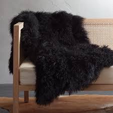black mongolian sheepskin throw