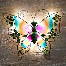Solar Butterfly Wall Light Solar Powered Metal Butterfly Led Light Garden Wall Art Patio Weatherproof Decor