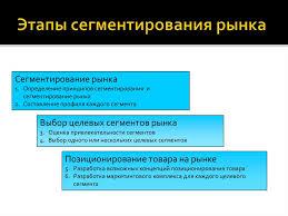 Маркетинговая стратегия center Этапы сегментированиЯ рынка  Размноженный текст