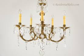 5 candle spanish cast brass and cut crystal chandelier circa 1940s