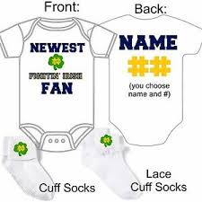 Details About Personalized Notre Dame Irish Fan Baby Gerber Onesie Socks Custom Made Gift