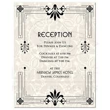 wedding reception card wedding reception card roaring 20s art deco black ivory