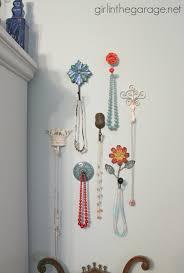 pretty wall hooks as jewelry storage in the bedroom i girlinthegarage net