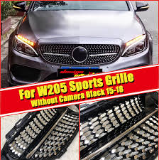 For MercedesMB C205 <b>W205 Grille grill</b> gloss black ABS <b>C class</b> ...