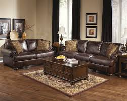 Living Room Furniture Indianapolis Ashley Axiom Walnut Genuine Leather Sofa And Love Seat Fashion