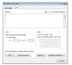 Avery 5160 Template Word 2007 How To Create Mailing Labels In Word