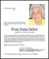 Irma Oehri Danksagung Vn Todesanzeigen