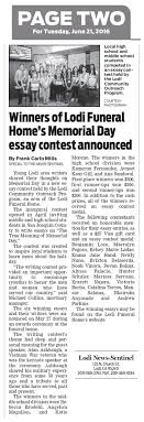 in the news lodi funeral home inc winners of lodi funeral home s memorial day essay contest announced by frank carlo mills special to the lodi news sentinel tuesday 21 2016