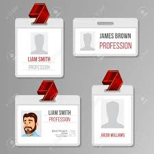 Identification Template Identification Badge Set Vector Id Card Blank Name Template
