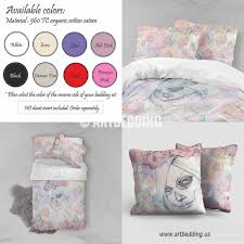 Skull Bedroom Decor Sugar Skull Girl Roses Duvet Bedding Set Bohemian Bedding