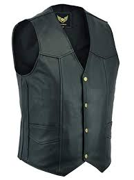 <b>Men's Real Leather</b> Black Waistcoat - Biker Style or Casual Fashion ...