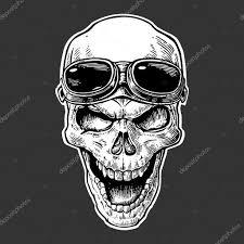 Lebka S úsměvem S Brýlemi Pro Motocykl Na čelo černých Vintage