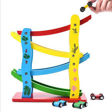mini racing track with 4 cars wooden ramp race track with small car toys