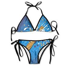 Sdltkhy Sexy Women Swimsuits Bikini Set Oil Painting Party Print Padded Beach Suit Adjustable Swimsuit