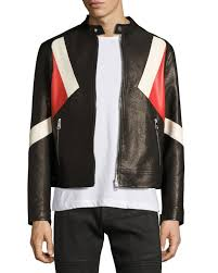 neil barrett modernist colorblock leather biker jacket black