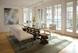 modern glass kitchen table. Brilliant Kitchen Modern Glass Kitchen Table With White Chairs And Benches Metal Legs Cream  Rug Light Toned Top Base