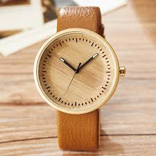previous minimalist wood and leather wrist watch
