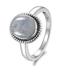 <b>GUYINKU</b> Vintage <b>Natural</b> Rainbow <b>Moonstone</b> Rings 925 Sterling ...