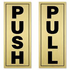 vertical pull push labels for door
