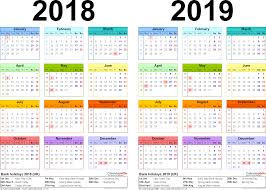 yearly printable calendar 2018 two year calendars for 2018 2019 uk for word