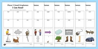Letter/grapheme cards, plus bright, colourful individual word cards. I Can Read Words Using Phase 3 Vowel Graphemes