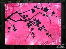 cherry blossom acrylic painting pink cherry blossom silhouette cherry blossom tree acrylic painting