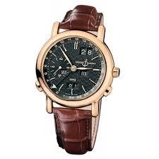 ulysse nardin gmt perpetual black dial 18kt rose gold brown leather mens watch 3262292 3262292 jpg