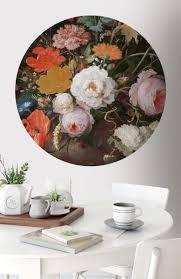 Behangcirkel Stilleven Bloemen Horloge Fotobehang