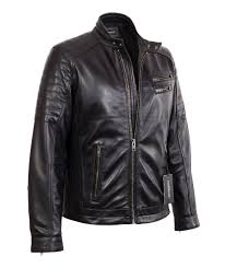 mens black quilted racer lambskin real leather jacket with double snap collar genuine leather jackets by corbani