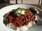 black bean and soyrizo chili