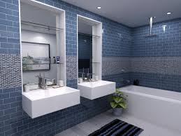 white glass bathroom tiles. Mosaic Detail Blue Subway Tile Bathroom With Built In Bathtub And Two Wall Mounted Vanities Also Glass Shelves White Tiles