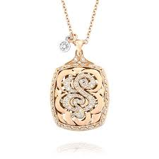 tacori 18k rose gold bold initial pendant