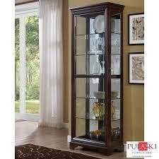 pulaski display cabinet with led light adjule glass shelves sliding door