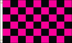 Pink Black Checkered Flag 2x3ft Poly