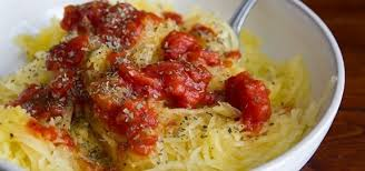 spaghetti squash with tomato sauce and parmesan cheese