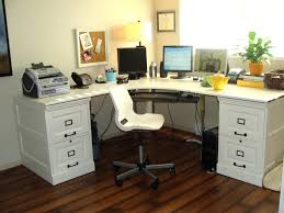 white wooden office chair. Cozy Interior Design Home Office With Simple Furniture Featuring Dark Wooden Table White Chair And