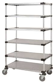 24 deep x 24 wide x 86 high 6 tier solid galvanized mobile shelving unit with 1200 lb capacity by omega s corporation