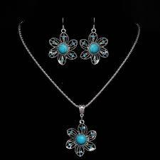 tibetan silver blue crystal round