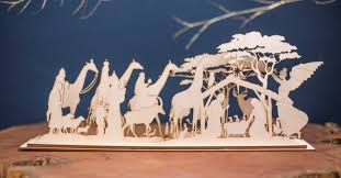 wooden nativity set in africa