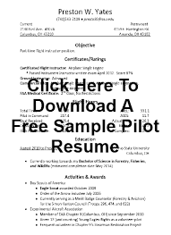 Pilot Resumes Sample Pilot Resume Samples Examples And More