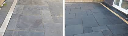 cement from a black limestone patio
