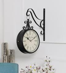 black metal 8 inch railway clock by