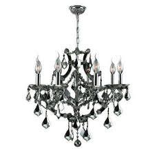 lyre 8 light chrome and black crystal chandelier