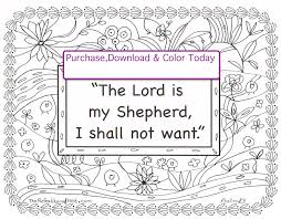 The Lord Is My Shepherd Scripture Coloring Page Etsy
