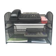 com vanra metal mesh desktop organizer telephone stand phone stand file sorter desk file tray organize file folder holder with drawer