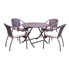 5pcs cafe curved back chairs and folding wicker table dining set tan cushions