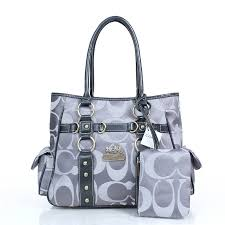 Coach Stud In Signature Medium Grey Totes DZF