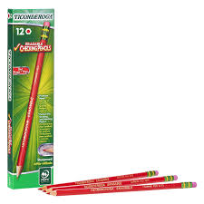 Red Checking Ticonderoga Erasable Checking Pencils With Eraser Pre Sharpened Red 12 Pack 14259 Pack Of 12