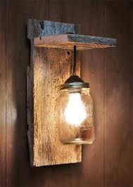 mason jar light wall fixture barnwood wall